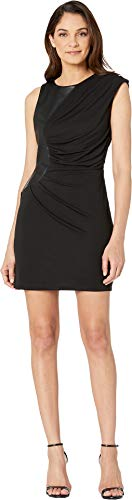 bebe Womens Pu Contrast Knit Dress Jet Black LG (Dress Bebe Knit)