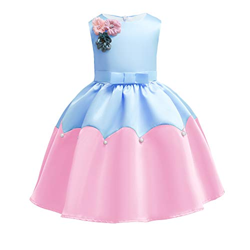 Girl Princess Flower Dress Kids Lace Wedding Party Bridesmaid Dresses (7-8 Years, Blue2)