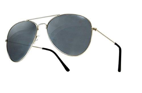 Para Gafas de Silver Lente Completo Retro Silver Diseño Aviator y Mujer Black Moda con 4sold de UV400 Para Hombre Sol wCSPIIqt