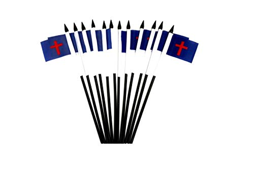 "Pack of 12 4""x6"" Christian Miniature Desk & Table Flags, 1 Dozen 4""x 6"" Christian Small Mini Stick Flags (Flags Only)"