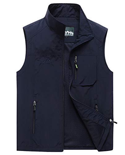 Hixiaohe Men's Lightweight Outdoor Work Fishing Photo Travel Hiking Vest Gilet (05 Navy, XL)