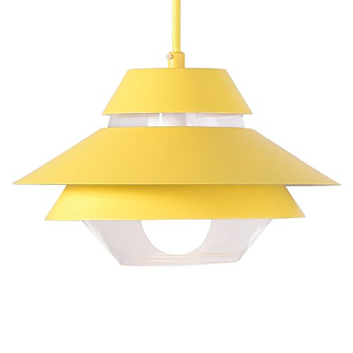 Glass Pendant Light with Yellow Lamp Shade,Femony Kitchen Ceiling Light for Home Use,Bar Restaurant and Coffee Shop - Glass Light Yellow Shade