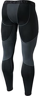 Tesla Men's Mesh-Panel Compression Pants Baselayer Cool Dry Sports Tights Leggings TUP109 / MUP79 / P16