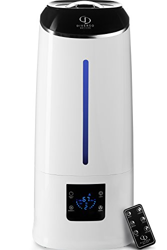 Cool Mist Humidifier - Air Humidifier - Humidifiers for Bedroom - Baby Vaporizer Room Humidifier - Home Top Fill Filterless Ultrasonic Humidifiers for Babies Kids - Air Mist 6l Large Room Humidifier by DIVERSO DEVICES