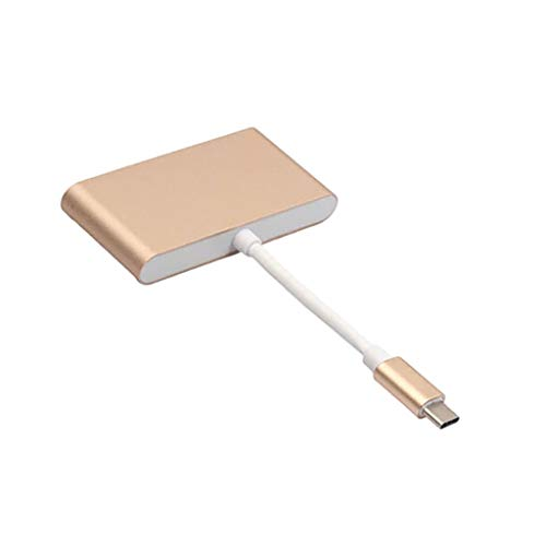 Price comparison product image Baosity 4 in 1 Hub USB C Type C to USB 3.0 PD Adapter Splitter for Projector Gold