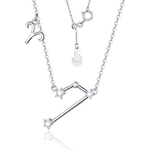 SIMPLOVE Women's Aries Horoscope Necklace Zodiac Sign Pendant Constellation Necklace Birthday Gift