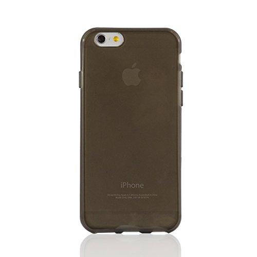 """iProtect housse de protection cuir synthétiquee flexible Soft Case transparent et Apple iPhone 6 (4,7"""") en noir + gris"""