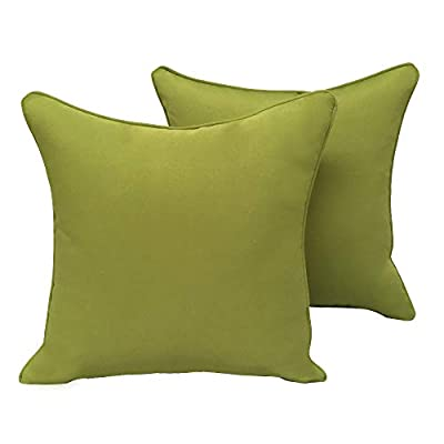 Vanteriam 2 Pack Decorative Outdoor Solid Waterproof Throw Pillow Cover with Piping, Accent Pillow case for Outdoor Patio Furniture Set, Square 18''x18'' Light Green - ✿ Package Including: 2 Pcs of 18x18 Inches throw pillow covers without inserts. Pillow covers only ✿ Material: Made of 100% durable and water resistant polyester fabric ✿ Invisible Zipper Design and Same Color Fabric Piping: The zipper is invisible and the color of the zipper is same to the color of pillow cover. Same color fabric piping makes the cover more durable and elegant - patio, outdoor-throw-pillows, outdoor-decor - 31Ln4yWeNSL. SS400  -