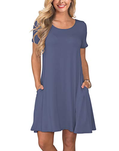 KORSIS Women's Summer Casual T Shirt Dresses Swing Dress PurpleGray - Tee Bridesmaid Shirts