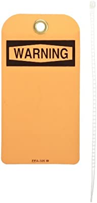 4 Width North Safety Caution Tag with Grommets Pack of 25 Styrene 8-1//2 Length Yellow