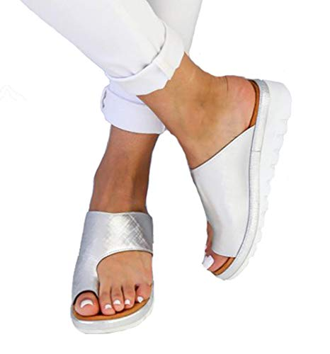 - CCZZ Women Summer Wedges Platform Sandals Stylish Thong Flip Flops Ultra Comfort Slippers Toe Loop Flat Sandals Silver, 9