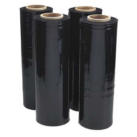 4 Rolls Black Hand Pallet Shrink Wrap Plastic Stretch Film 18' Wide x 1500 Ft. 80 Gauge
