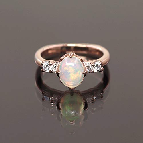 8x6 mm Natural Opal Diamond Engagement Ring, Simple 14k Solid Gold Bridal Ring