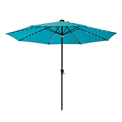 FLAME&SHADE 11' Solar LED Outdoor Patio Umbrella Market Style with Lights for Outside Table Balcony Deck or Garden, Aqua Blue (Sunbrella Shade)