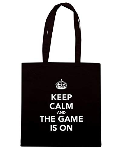 Borsa Shopper Nera TKC1150 KEEP CALM AND THE GAME IS ON