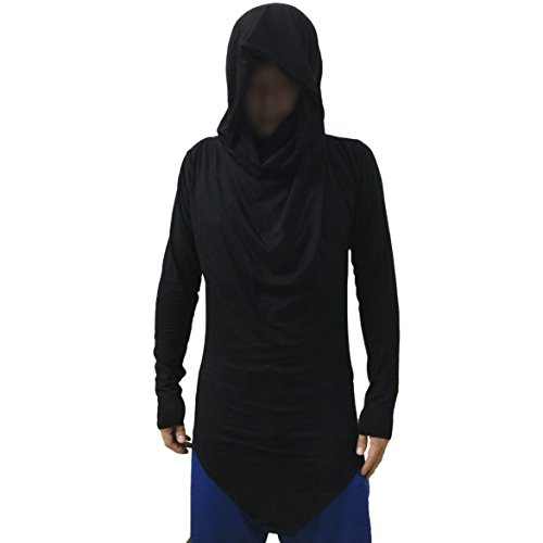 Black Cowl (MOKEWEN Men's Cowl-Neck Hood Triangle Hem T-shirt US Medium+ Black)