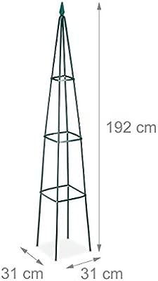 Iron H 192 cm Freestanding Trellis for Wine /& Tomatoes XL Garden Pyramid Dark Green Relaxdays Growth Support