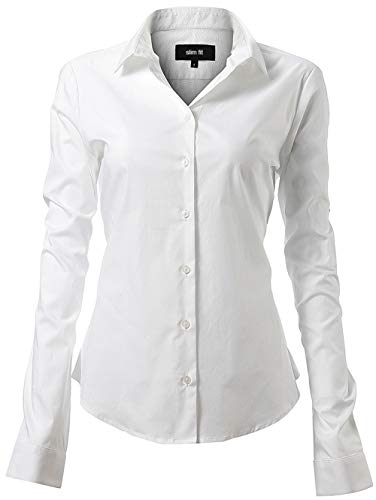 Harrms Western Server Shirts for Women Slim Fit Stretchy Cotton White Button Down Shirts Size 8