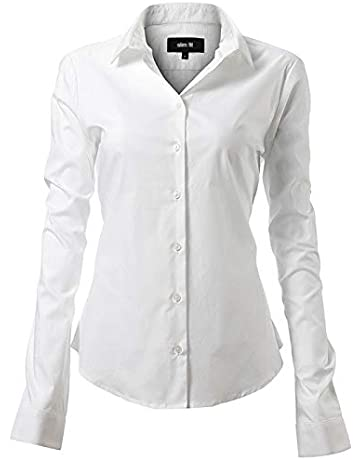 eeb0c3bccbfa63 INFLATION Womens Ladies Long Sleeve Shirt Blouse Cotton Casual Slim Fit  Work Formal Shirt Girls School