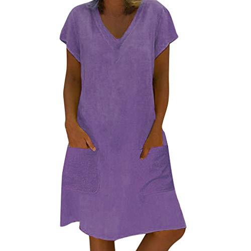 TIANMI Women Summer Style Feminino Vestido T-Shirt Cotton Casual Plus Size Ladies Dress Purple