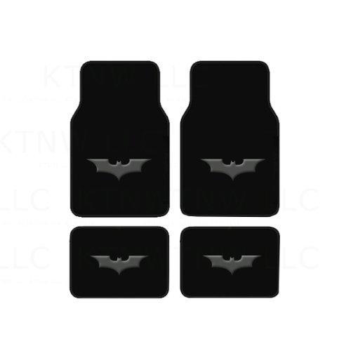 Dark Knight Design - A Set of 4 Universal Fit Front and Rear Logo Plush Carpet Floor Mats- The Dark Knight Batman Logo