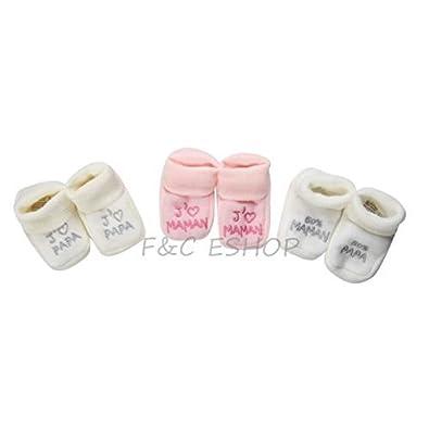 7911f43e2491d FC ESHOP - 3 paires de chaussons naissance - bébé fille - modèle aléatoire