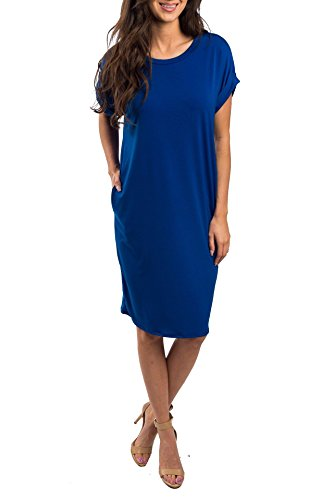 Imysty Womens Summer Casual Midi Dress Short Sleeve Crew Neck Tunic T-Shirt Dresses with Pockets
