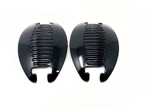2 set Interlocking Banana Combs Hair Clip French Side Comb Holder (Black)