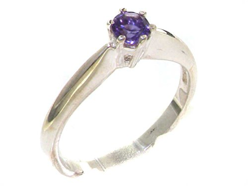 925 Sterling Silver Natural Amethyst Womens Solitaire Band Ring - Size 5.75 (Antique Amethyst Ring)