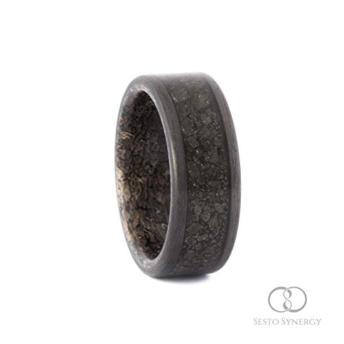 Carbon Fiber Ring with Central Wide Pyrite Mineral Stone Inlay & Dinosaur Bone Inner Sleeve. 7 mm.