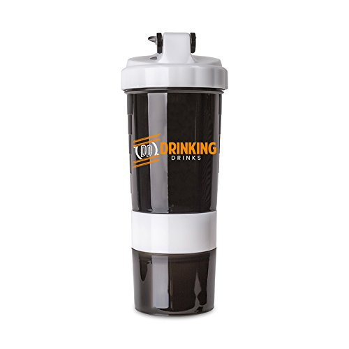 Protein Shaker Bottle with Supplement Storage (17 oz.) Flip-Top Drink Spout   Water Bottle for Fitness, Gym, Workout, Exercise, Bodybuilding, CrossFit   Vegan or Whey Use (White)