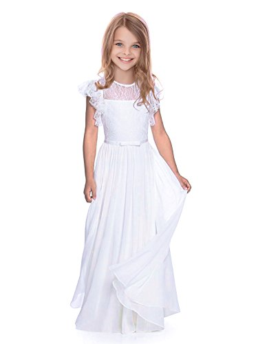 - AbaoSisters Flutter Sleeves A-Line Flower Girl Dress White Size 4