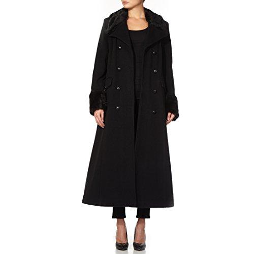 Femmes Jacket Cachemire Bord Manteau Fausse Fourrure Militaire Russe Noir Hiver Long Laine Et La Crème Style qF4A55
