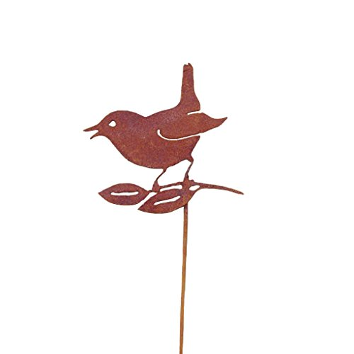 Bird with Leaves Rusty Garden Sculpture