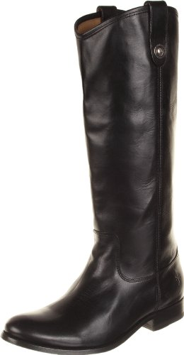 Frye Black Extended Calf Leather Melissa Button Riding Boots