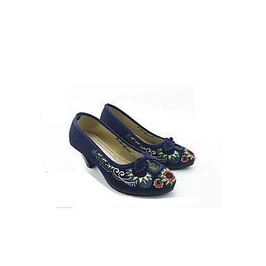 LvYuan GGX Femme Chaussures à Talons Tissu Printemps Automne Boucle Fleur Gros Talon Bleu de Minuit Rouge 5 à 7 cm ruby HSJVtKYg9