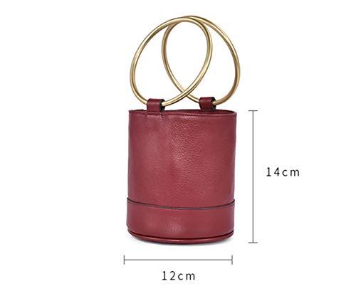 14 Handbag Top Genuine Leather Bucket Yeying123 Red Cowhide Layer Female Wine 12cm Bag PvwXxq