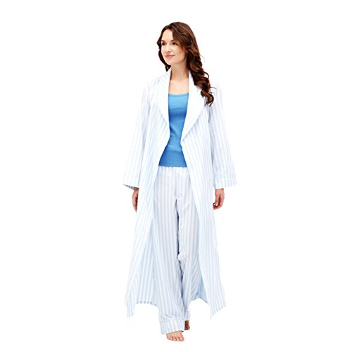 The-Irish-Linen-Store-Womens-Ellie-Classic-Cotton-Striped-Robe-Blue-and-White
