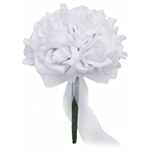White Silk Rose Toss Bouquet - Silk Wedding Toss Bouquet 54