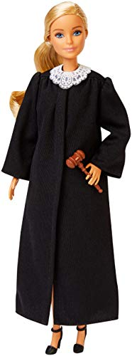 Barbie Judge Doll, Blonde, Wearing Black Robe with Gavel and Block, for 3 to 7 Year Olds