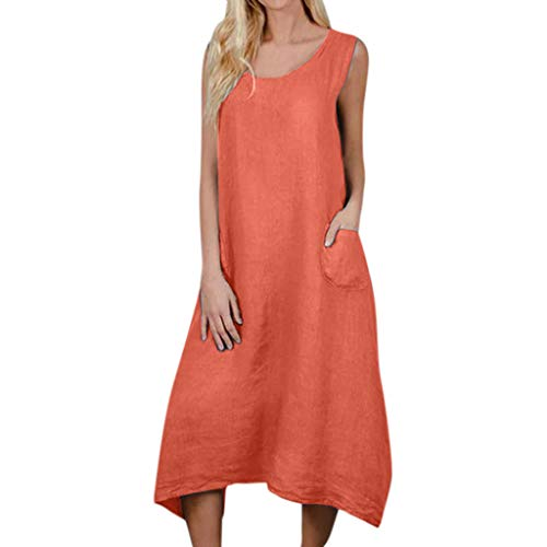 CCOOfhhc Women's Scoop Neck High Low Hem Loose Swing Casual Midi Dress Solid Short Sleeve Maxi Dress with Pocket Orange