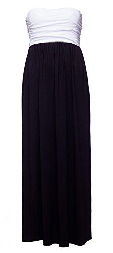 Glamour Empire. Para Mujer Vestido Maxi Sin Tirantes Cintura del Imperio. 268 Negro & Blanco