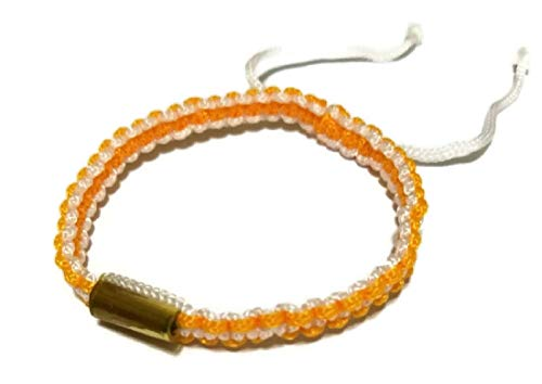 Band Scrolled - Thai Amulet Thai Buddhist Orange and White Cotton Blessed Wristbands Bracelet Handmade