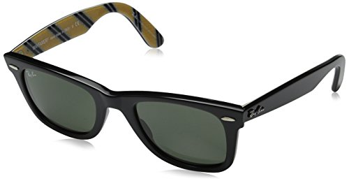 Ray-Ban WAYFARER - BLACK Frame CRYSTAL GREEN Lenses 50mm - Ban Ray Wayfarer Black Flat