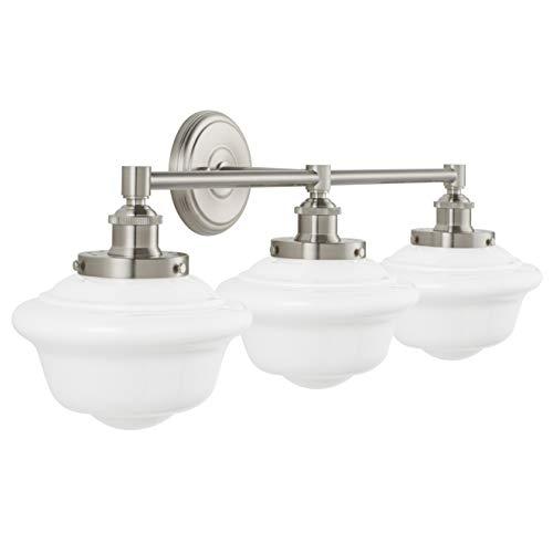 - Lavagna 3 Light Bathroom Vanity Brushed Nickel with Milk Glass Linea di Liara LL-WL273-MILK-BN