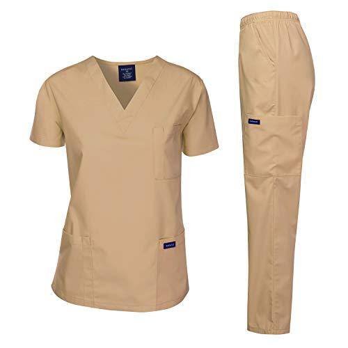 (Dagacci Medical Uniform Woman and Man Scrub Set Unisex Medical Scrub Top and Pant, KHAKI, XS)
