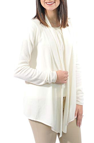 Gigi Reaume 100% Cashmere Womens Cardigan Sweater, Open Front, Shawl Collar, Swing Style (Large, Cream)