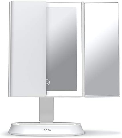 Fancii Large Makeup Mirror with Natural LED Lights, Lighted Trifold Vanity Mirror with 5x & 7x Magnifications - Dimmable Lights, Touch Screen, Cosmetic Stand (Sora)