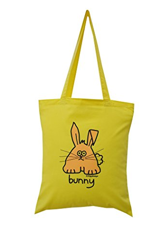 'Bunny' yellow cotton tote bag