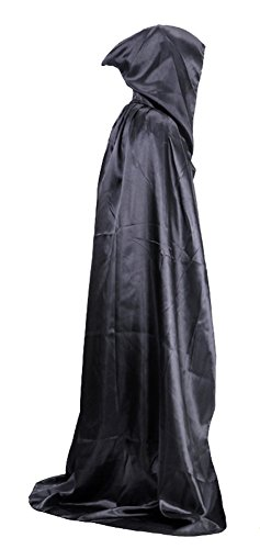 Cheap Halloween Outfit (MEYKISS Adults Cape Halloween Costume Deluxe Cloak Black)